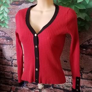 Red Button Down V Neck Cardigan